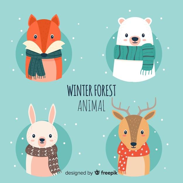 Zimowa paczka zwierząt leśnych Darmowych Wektorów