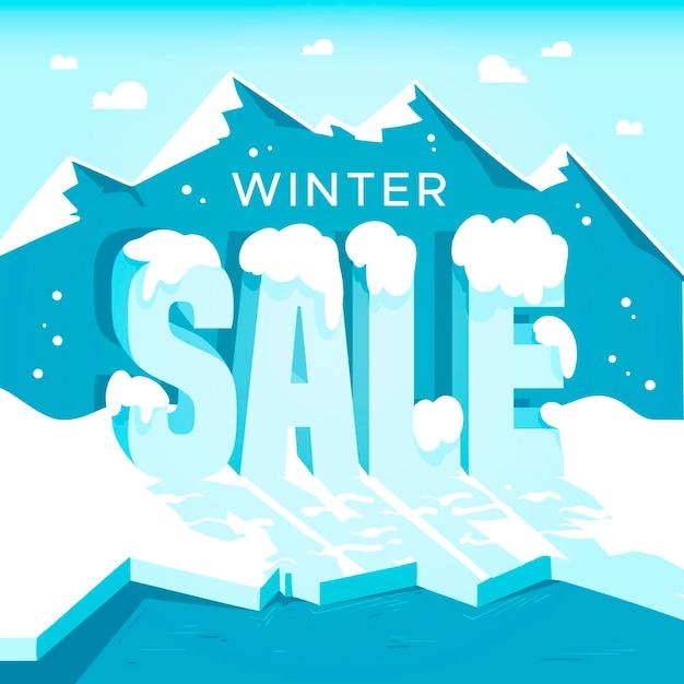 Zimowa Promocja Sprzedaży Z Rysowaną Górą Darmowych Wektorów