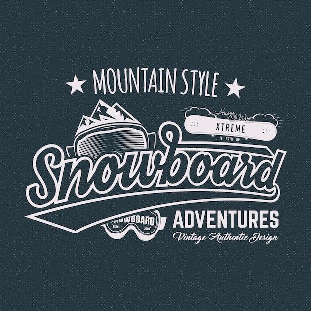 Zimowa sportowa etykieta snowboardowa, koszulka. Premium Wektorów