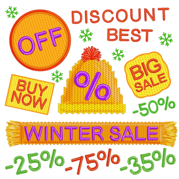 Zimowa Sprzedaż Odznaki Zestaw Darmowych Wektorów