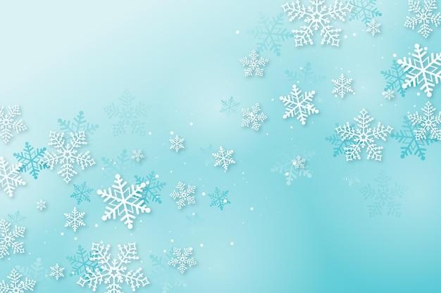 Zimowa Tapeta W Stylu Papierowym Darmowych Wektorów