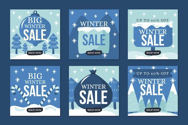 Zimowa wyprzedaż instagramowa kolekcja postów w niebieskich śnieżnych odcieniach Darmowych Wektorów