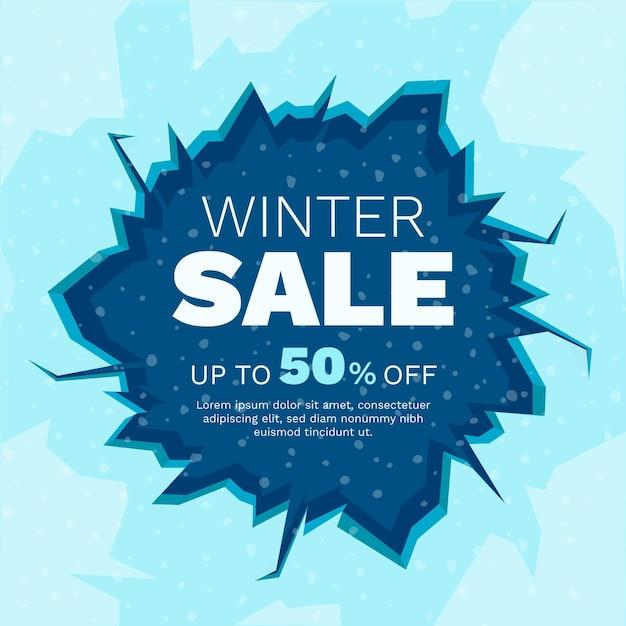Zimowa Wyprzedaż Z Ciągnionym Lodem Premium Wektorów