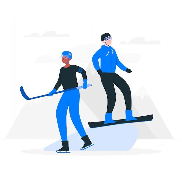 Zimowe Igrzyska Olimpijskie Ilustracja Koncepcja Darmowych Wektorów