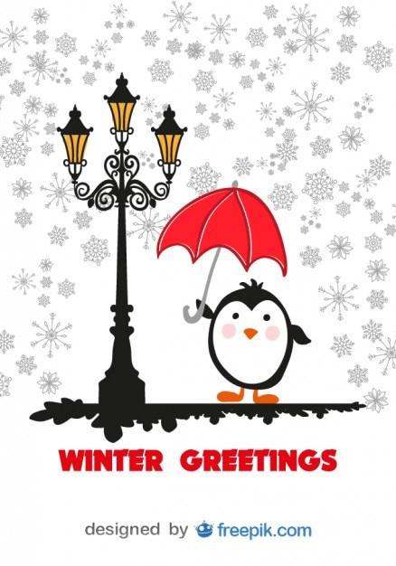 Zimowe karty z życzeniami kreskówki pingwina z czerwonym parasolem Darmowych Wektorów