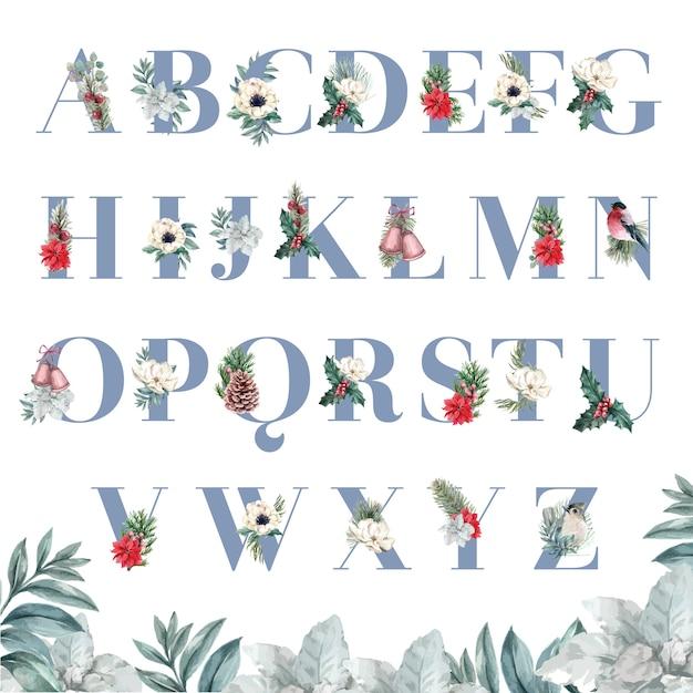 Zimowe kwiaty alfabet s Darmowych Wektorów