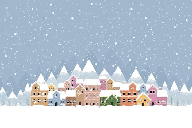 Zimowe miasteczko w stylu płaskim ze śniegiem i górą 001 Premium Wektorów