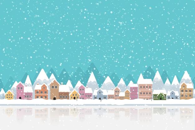 Zimowe miasto płaski z śniegu i górskich Premium Wektorów