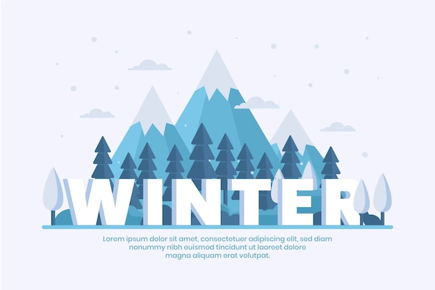 Zimowe Tło W Płaskiej Konstrukcji Darmowych Wektorów