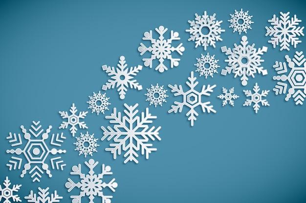 Zimowe Tło W Stylu Papieru Darmowych Wektorów