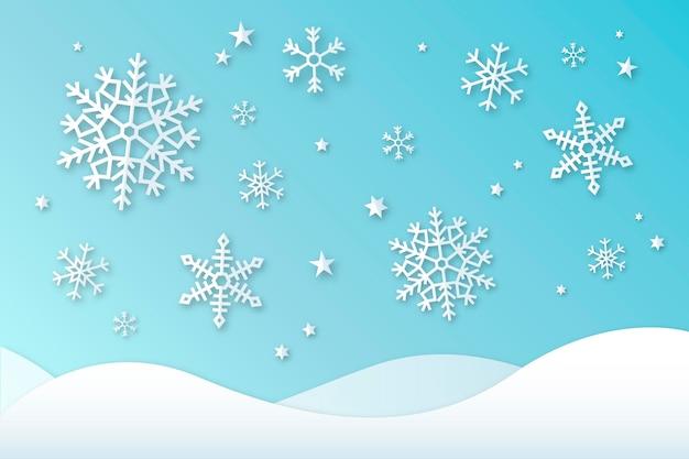 Zimowe Tło W Stylu Papieru Premium Wektorów