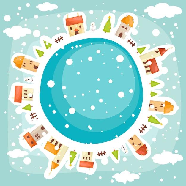 Zimowe Tło Ziemia Premium Wektorów