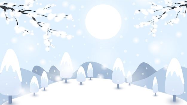 Zimowe Tło Premium Wektorów