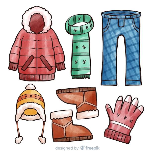 Zimowe Ubrania I Niezbędne Artykuły   Darmowy Wektor