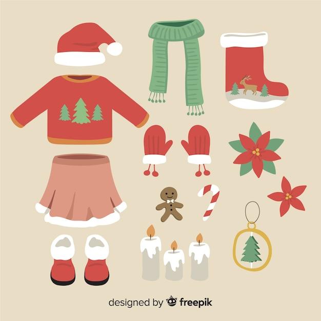 Zimowe Ubrania I świąteczne Dekoracje Darmowych Wektorów