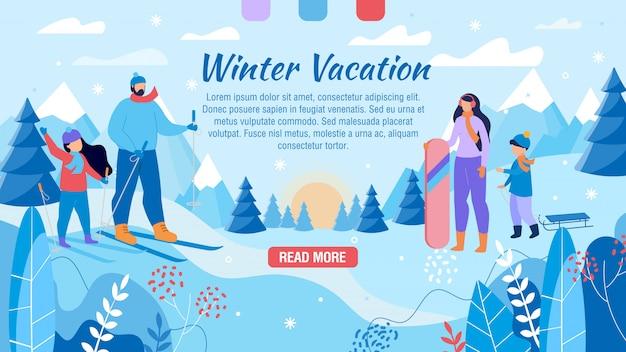 Zimowe Wakacje Dla Rodzinnej Strony Reklamowej Premium Wektorów