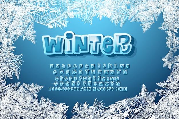 Zimowy alfabet Premium Wektorów