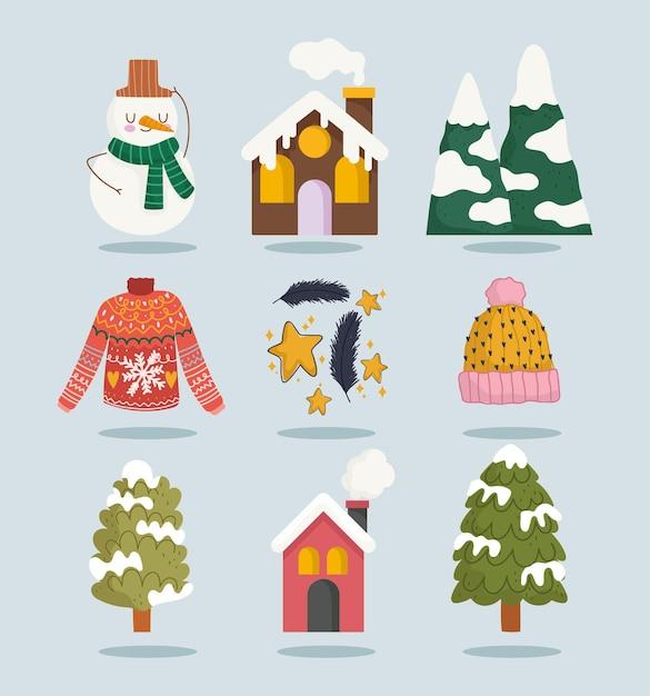 Zimowy Bałwan Dom śnieg Górski Drzewo Sweter Ikony Zestaw Kreskówka Premium Wektorów