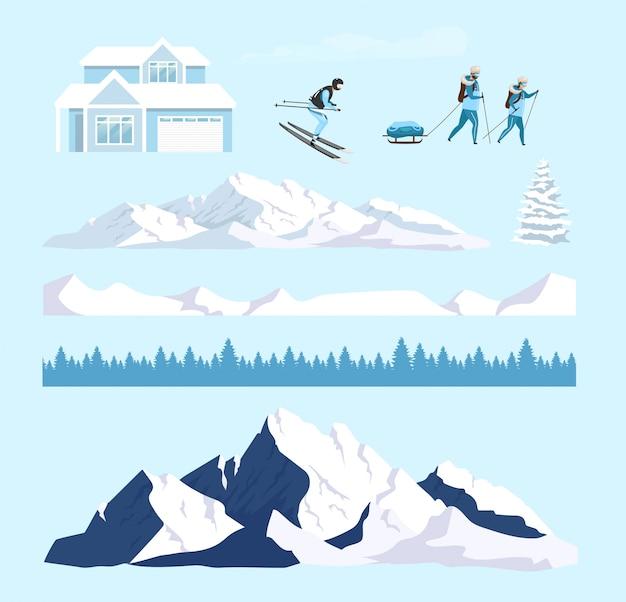Zimowy Charakter Kreskówka Zestaw Obiektów Premium Wektorów