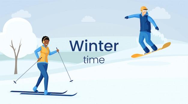 Zimowy Czas Ilustracja Kolor Płaski Premium Wektorów