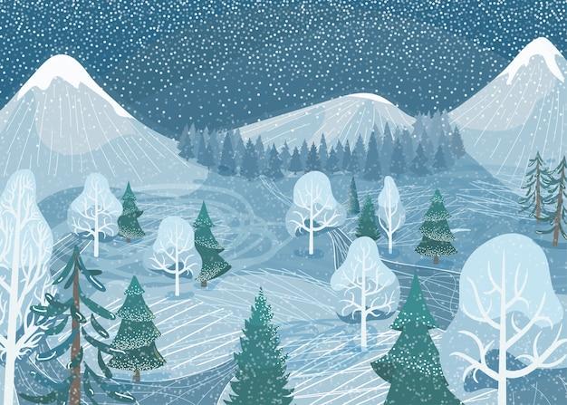 Zimowy Krajobraz. Natura Górskiego Lasu śnieżna Scena Z Jodły, Drogi, świerku, Sosny. Północna Sceneria śniegu Na Zewnątrz. Darmowych Wektorów