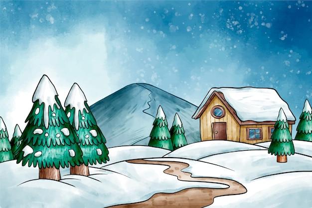 Zimowy Krajobraz Tło W Akwarela Darmowych Wektorów