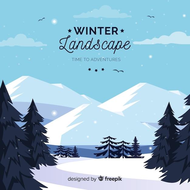 Zimowy krajobraz tło Darmowych Wektorów