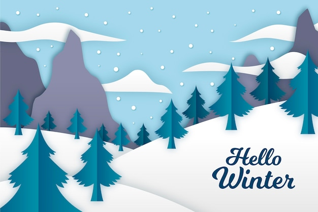 Zimowy Krajobraz W Stylu Papieru Darmowych Wektorów
