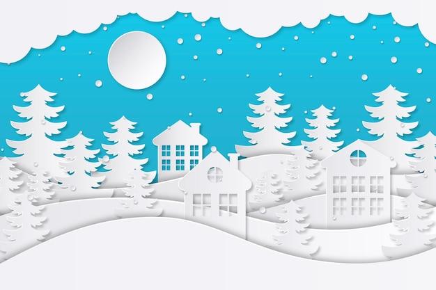 Zimowy Krajobraz W Stylu Papieru Premium Wektorów