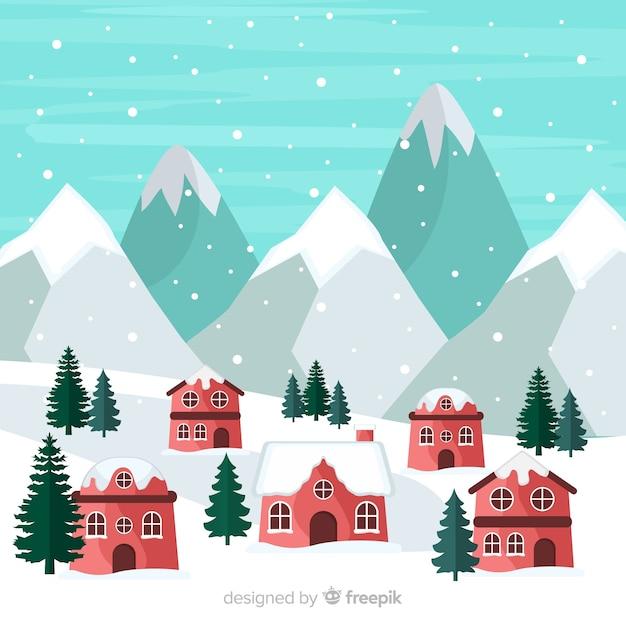 Zimowy krajobraz wsi Darmowych Wektorów
