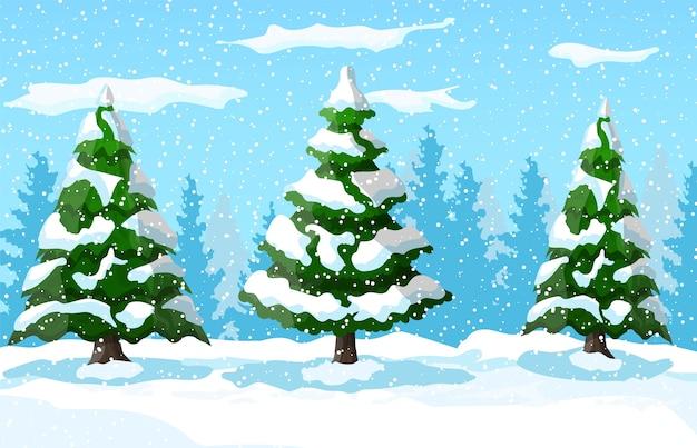 Zimowy Krajobraz Z Białymi Sosnami Na śnieżnym Wzgórzu Premium Wektorów