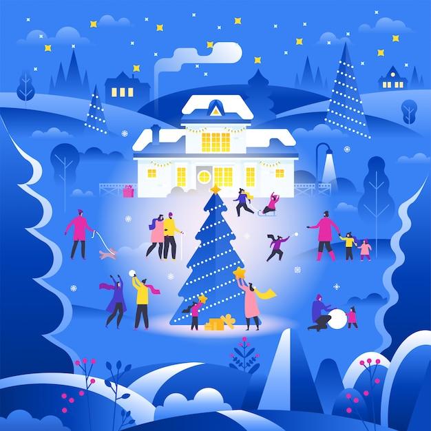 Zimowy krajobraz z ludźmi chodzącymi na podmiejskiej ulicy i wykonującymi zajęcia na świeżym powietrzu Premium Wektorów