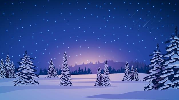 Zimowy Krajobraz Z Ośnieżonymi Sosnami, Wzgórzami Na Horyzoncie, Niebieskim Gwiaździstym Niebem I Zaśnieżonymi Równinami. Premium Wektorów