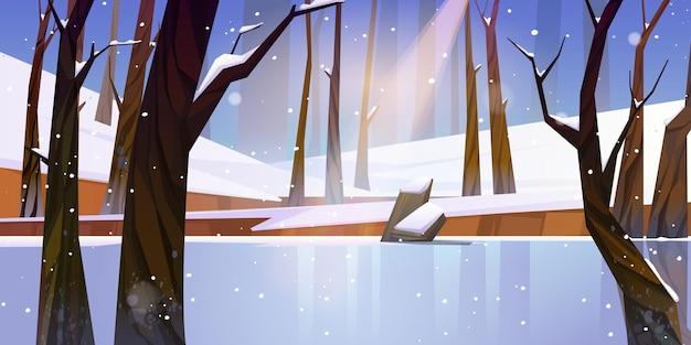 Zimowy Krajobraz Z Zamarzniętym Jeziorem W Lesie, Białym śniegu I Drzewach. Darmowych Wektorów