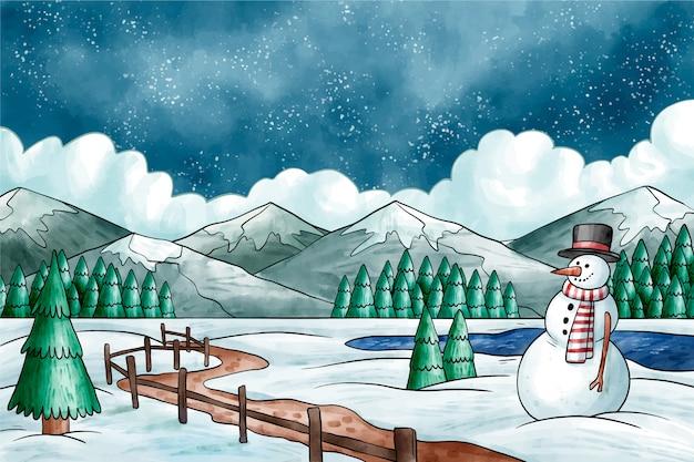 Zimowy Pejzaż W Stylu Przypominającym Akwarele Darmowych Wektorów