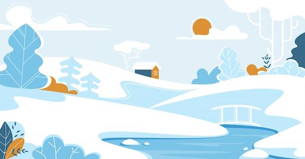 Zimowy Pejzaż Z Lonely House Lub Chalet. Premium Wektorów