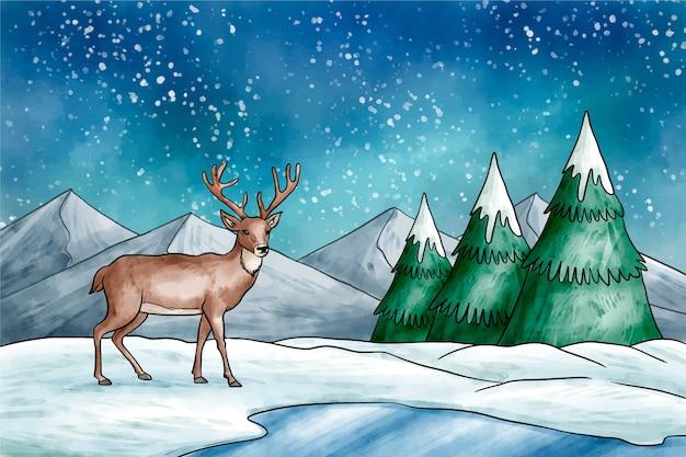Zimowy pejzaż z reniferów w tle Darmowych Wektorów