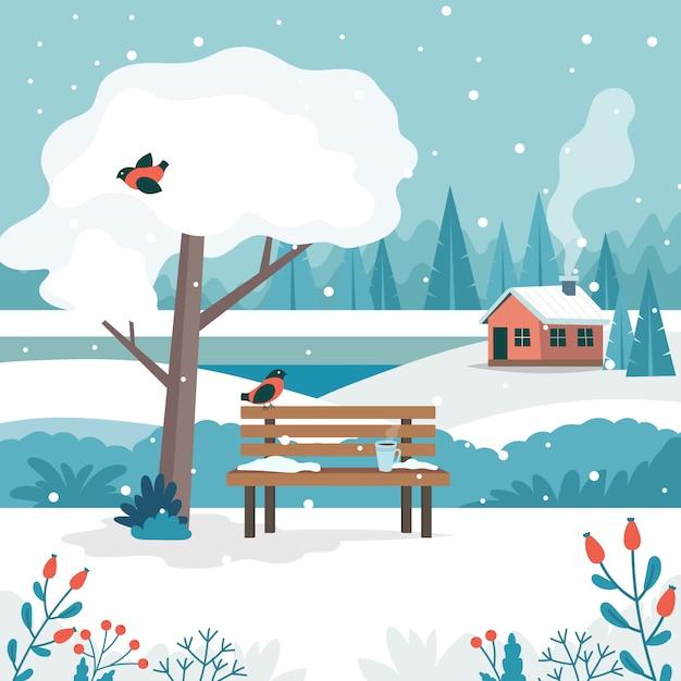 Zimowy Pejzaż Z Uroczą ławką Premium Wektorów