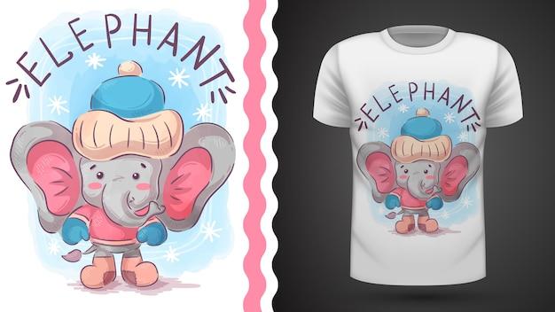 Zimowy Słoń - Pomysł Na Koszulkę Z Nadrukiem Premium Wektorów