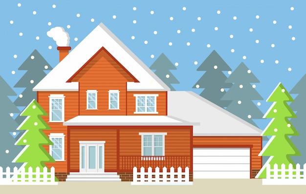 Zimowy Wiejski Krajobraz Jodły Wiejska Prywatna Chata Z Garażem I Padającym śniegiem. Premium Wektorów