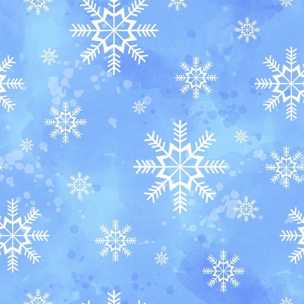 Zimowy wzór z płatki śniegu na niebieskim tle akwarela. Premium Wektorów