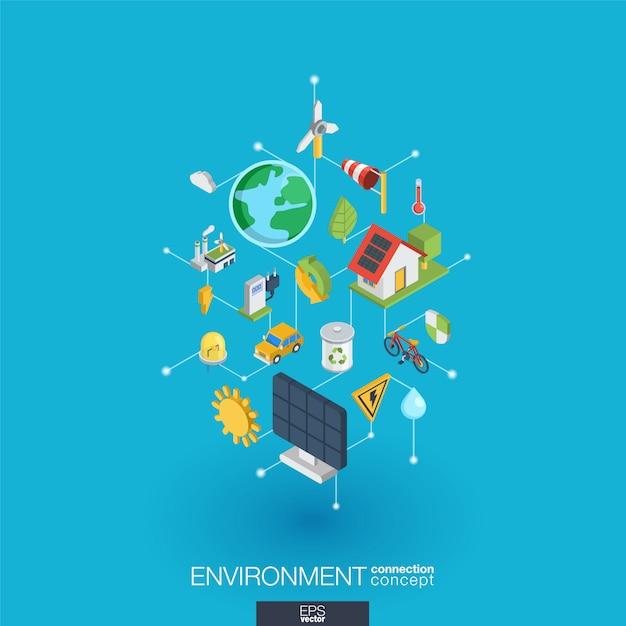 Zintegrowane Ikony środowiska Sieci Web. Koncepcja Interakcji Izometrycznej Sieci Cyfrowej. Połączony Graficzny System Kropkowo-liniowy. Abstrakcyjne Tło Dla Ekologii, Recyklingu I Energii. Infograf Premium Wektorów