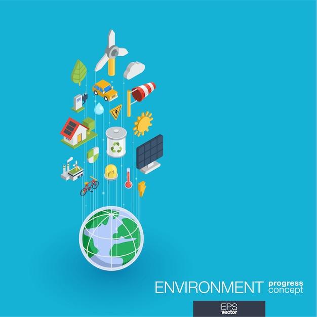 Zintegrowane Ikony środowiska Sieci Web. Koncepcja Postępu Izometrycznego Sieci Cyfrowej. Połączony System Wzrostu Linii Graficznych. Abstrakcyjne Tło Dla Ekologii, Recyklingu I Energii. Infograf Premium Wektorów