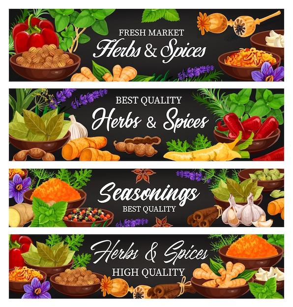 Zioła I Przyprawy, świeże Przyprawy Do żywności I Banery Z Przyprawami Premium Wektorów