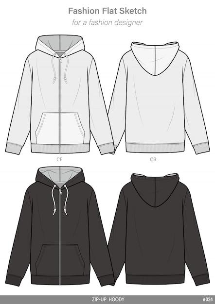 Zip-up hoody model płaski rysunek techniczny szablon Premium Wektorów