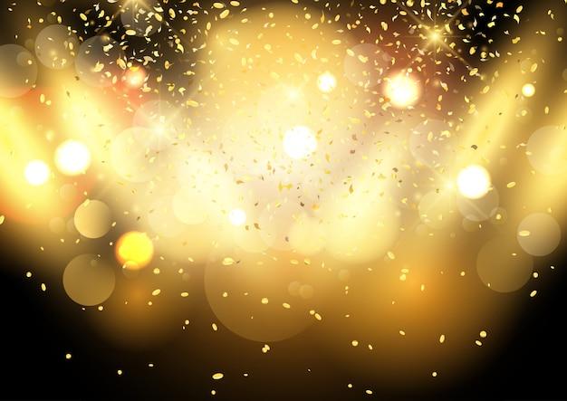 Złocisty bokeh zaświeca tło z confetti Darmowych Wektorów