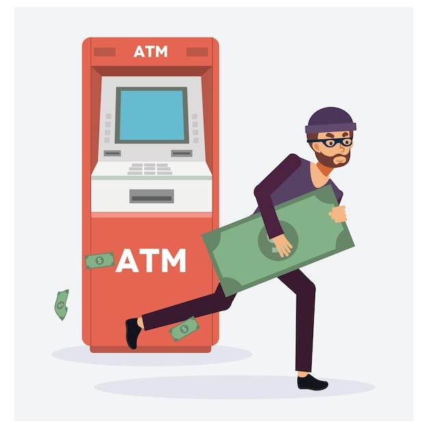 Złodziej Kradnie Pieniądze Z Bankomatu, Czerwone Bankomaty, Złodziej W Masce. Osoba Przestępcza. Premium Wektorów