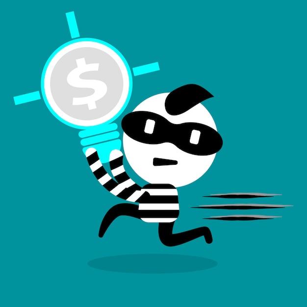 Złodziej kradnie żarówkę i prawo intelektualne Premium Wektorów