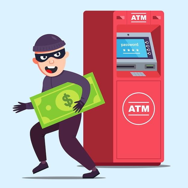 Złodziej Ukradł Pieniądze Z Bankomatu. Szczęśliwa Ilustracja Kryminalna. Premium Wektorów