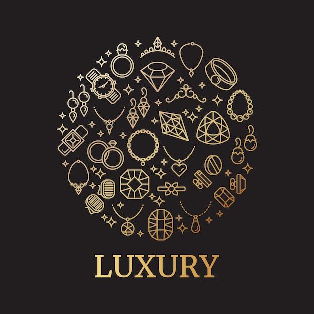 Złota biżuteria i gemstones linii wektorowe ikony Premium Wektorów